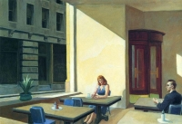 Sunlight in a Cafeteria, Edward Hopper. « Des chercheurs des départements d'immunologie et d'épidémiologie d'Harvard University prédisent que le maintien de la distanciation sociale sera obligatoire jusqu'en 2022. »  Edward Hopper