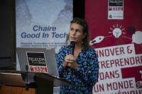 Christine Balagué, professeure à l'Institut Mines-Télécom Business School (IMT-BS) et co-titulaire de la chaire Good in Tech, lors de son lancement à Paris le 12 septembre 2019.